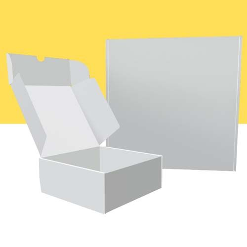 Weiße quadratische Klappboxen
