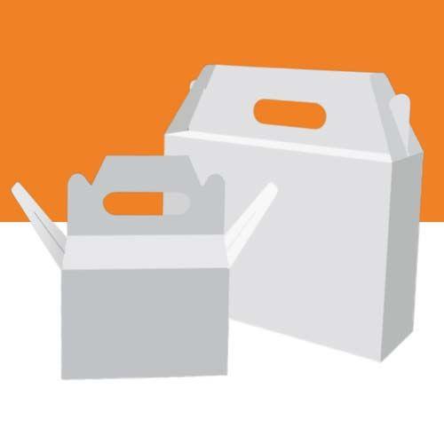 Weiße Tragegriff-Kartons